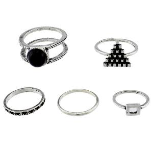 Alloy Circle Geometric Jewelry Ring Set - SILVER ONE-SIZE
