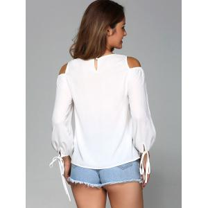 Cold Shoulder Tie Sleeve Blouse -