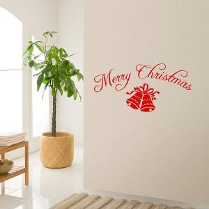 Merry Christmas Bells Removeable Window Glass Wall Sticker - RED