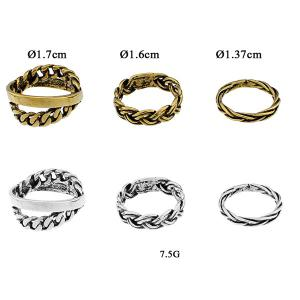 Alloy Braid Circle Jewelry Ring Set - GOLDEN ONE-SIZE