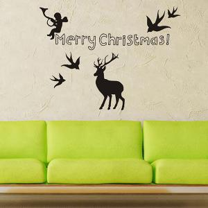 Merry Christmas Angel Deer Removeable Window Glass Wall Sticker -