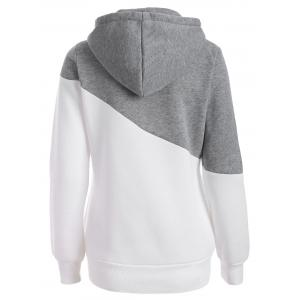 Pullover Drawstring Color Block Hoodie -