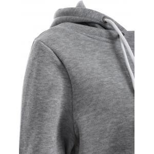 Pullover Drawstring Color Block Hoodie - GRAY 2XL