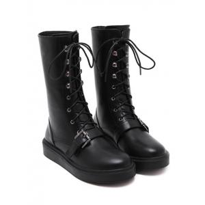 Lace-Up Buckle Platform Mid-Calf Boots - BLACK 39