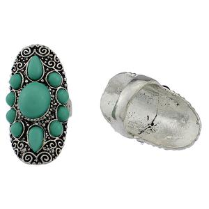 Faux Gem Water Drop Floral Ring - GREEN ONE-SIZE