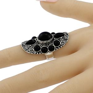 Faux Gem Water Drop Floral Ring -