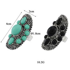 Faux Gem Water Drop Floral Ring - BLACK ONE-SIZE