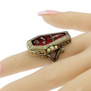 Cool Crown Bat Crucifix Coffin Halloween Finger Ring - BRONZE COLORED ONE-SIZE