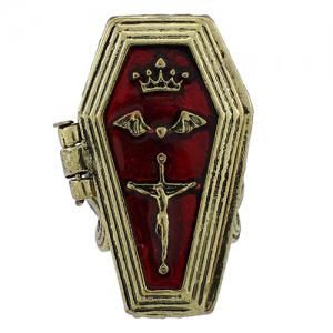 Cool Crown Bat Crucifix Coffin Halloween Finger Ring - BRONZE-COLORED ONE-SIZE