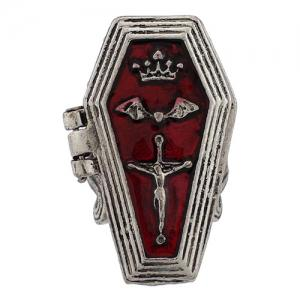 Cool Crown Bat Crucifix Coffin Halloween Finger Ring - SILVER ONE-SIZE