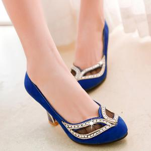 Hollow Out Rhinestone Chunky Heel Pumps - BLUE 43