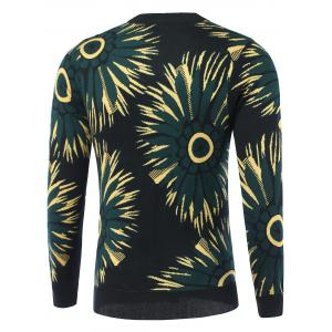 Flowers Print Round Neck Long Sleeve Sweater -