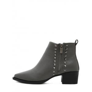 Pointed Toe Metal Rivets Zipper Ankle Boots -
