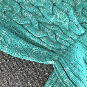 Fleur de Chanvre chaud confortable Blanket Knitting Sofa Mermaid - Vert M