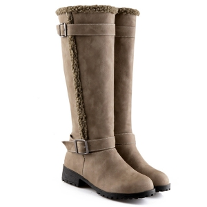 Buckles Low Heel Faux Shearling Mid-Calf Boots -