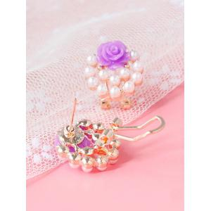 Faux Pearl Rose Floral Earrings -