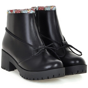 Floral Print Spliced Chunky Heel Ankle Boots -