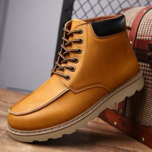 Lace-Up Color Spliced PU Leather Boots - LIGHT BROWN 44
