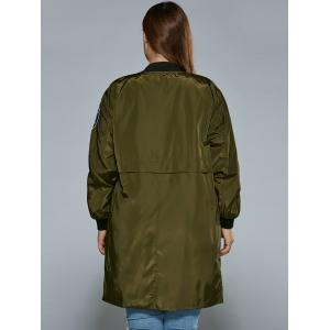 Plus Size Zip Up Patched Ruffled Trench Coat - ARMY GREEN 4XL