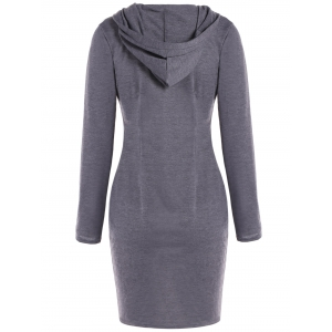 Hooded Long Sleeve Dress - GRAY XL