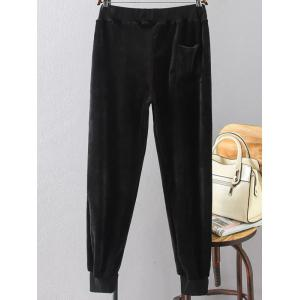 Plus Size Drawstring Velvet Sporty Jogger Pants -