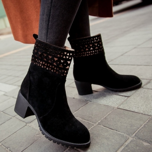 Cut Out сапоги пятки Suede CHUNKY -
