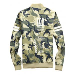 Camouflage Letters Pattern Stand Collar Zip Up Jacket -