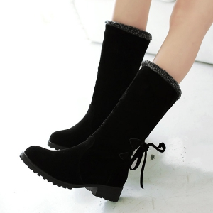 Low Heel Suede Faux Shearling Boots - BLACK 43