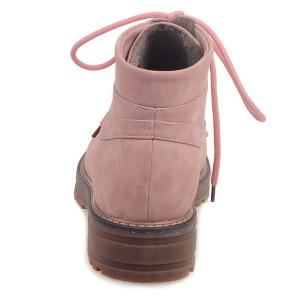 Preppy PU Leather Lace-Up Ankle Boots - PINK 43