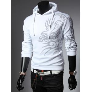 Totem Printed Drawstring Long Sleeves Hoodie - WHITE 2XL