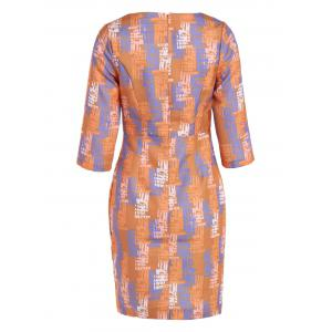 3/4 Sleeve Zipper Sheath Dress - ORANGE 3XL