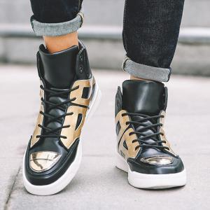 Patent Leather Spliced Lace-Up Boots -