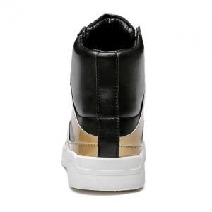 Patent Leather Spliced Lace-Up Boots - GOLDEN 40