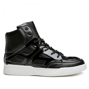 Patent Leather Spliced Lace-Up Boots - BLACK 44