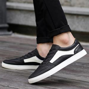 PU Leather Tie Up Colour Spliced Casual Shoes -
