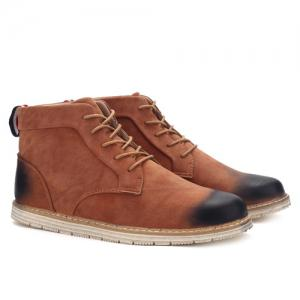 Broder Lace-Up PU Bottines en cuir -