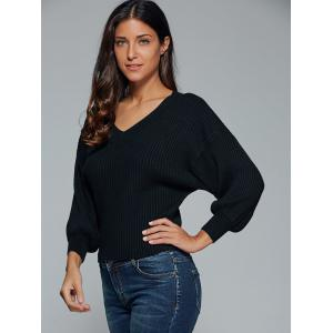 V Neck Drop Sleeve Pullover Sweater -