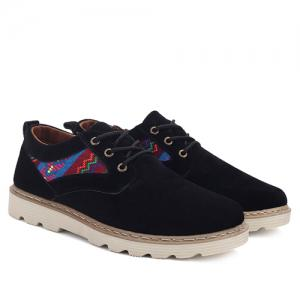 Ethnic Style Suede Lace-Up Casual Shoes - BLACK 43