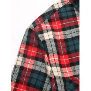 Checks Pattern Single-Breasted Long Sleeve Shirt - COLORMIX 2XL