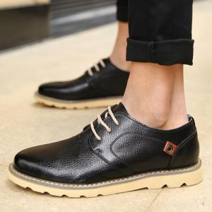 Lace-Up Textured PU Leather Casual Shoes -