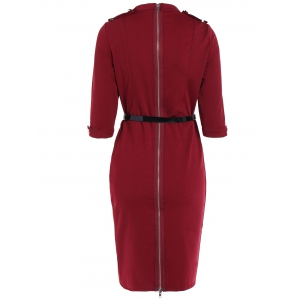 Buttoned Belted Bodycon Sheath Dress - WINE RED XL