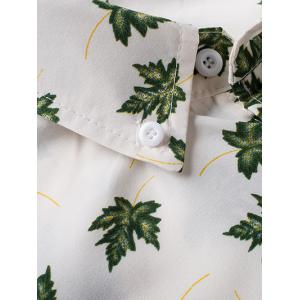 Maple Leaf Print Long Sleeve Button-Down Shirt - WHITE 3XL