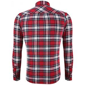 Front Pocket Design Plaid Long Sleeve Fitted Denim Shirt - RED 2XL