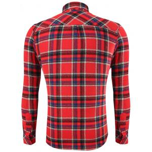 Turn-Down Collar Long Sleeve Flap Pocket Checked Shirt - RED 2XL