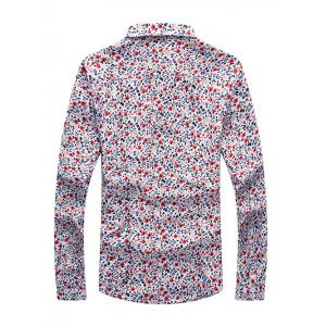 Tiny Floral Print Long Sleeve Button Up Shirt -