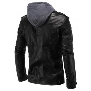 Epaulet Design PU Hooded Moto Jacket -
