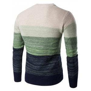 Crew Neck Gradient Color Space Dyed Sweater - GREEN 2XL
