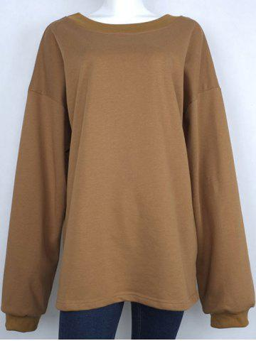 Fancy One-Shoulder Loose Sweatshirt KHAKI XL