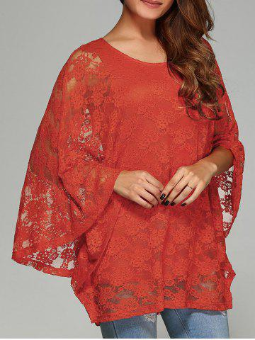 Best Batwing Sleeve Lace Smock Blouse