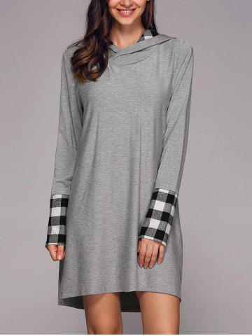 Trendy Plaid Patchwork Sleeve Hooded Dress